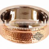 IndianArtVilla High Quality Steel Copper Handi Serving Bowl 1350 ML - Serving Dish Curry Home Hotel Restaurant Tableware