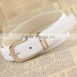 White leather belt, man or woman belt ,smooth casual belt