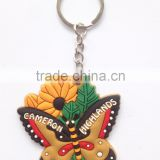 Wholesale Butterfly Shaped Metal Keychain Soft PVC Rubber Fashion Key Chain