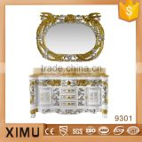 classical handmade chinese bathroom vanity with gold&silver decorate