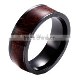8MM Comfort Fit Black Titanium Wedding Band Engagement Ring with KOA Wood Inlay and Beveled edge