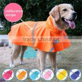 High quality large size dog raincoat with reflective strips for large dogs