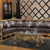 BISINI Exquisite Solid Wood Carved Sofa Set Gold Foil Lobby Leather Sofa Set For Hotel Lobby