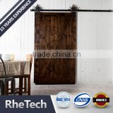 high quality hot sale barn door sliding flat steel black door roller and track with soft closer