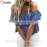 Summer cheap wholesale ruffle clothing women off shoulder casual loose beach denim crop tops blouse