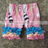 2017 summer knit cotton new design full icing shorts baby girl feather print ruffle shorts clothing sets
