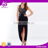 2015 Guangzhou Shandao Factory Summer Sleeveless V-neck Back Zip Up Black Beautiful Office Dress Floral Lace