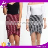2017 Summer Latest Design Shandao Factory Women New Sexy Bodycon Wrap High Waist Striped Cotton Skirts Wholesale