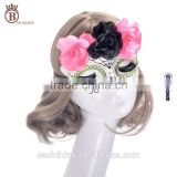 Flat Head Bling Powder with Flowers Masquerade Princess Venice Masks