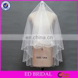 2017 Wholesale New Item High Quality Soft Tulle Beaded Trim Short Bridal Veil