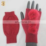 Wholesale Winter Fingerless Adults Knitted Mittens with Fur Ball