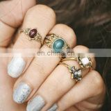 4pcs/set Retro Jewelry Carved Gemstone Finger Knuckle Rings Sets