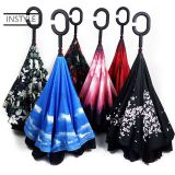 Double layer canopy inside out reversible umbrella, upside down umbrella, reverse inverted umbrella