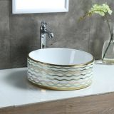 Bathroom colorful high quality simple new design round shape ceramic hand wash basin for hotel from chaozhou china