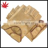 1/2 Finger classic beige Driving Leather Gloves nade from finest leather unlined