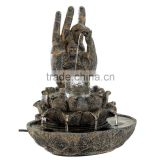 Gifts and Decor Hand of Buddha Stone Like Indoor Table Water Fountain