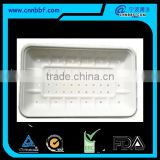 Disposable and ecofriendly sugarcane bagasse pulp fiber trays with hole