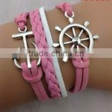 CB8119 Hot-selling for girl's accessory pink anchor leather bracelet wholesale jewelry