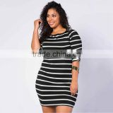 F20348A New fashion fat women dresses three quarter sleeve plus size bodycon slim stripe dress plus size women clothing for lady