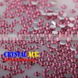 Rose color resin crystal rhinestones cold fix beads, mirror back resin diamond stones for jewellery making
