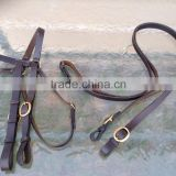 Used dark brown Leather horse size Australian style bridle w/brass hardware/ veterinary instruments and equipment