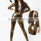 sexy www xxxl com photos gold metallic leopard print leather pvc latex rubber full body costume catsuit/zentai suits fetish