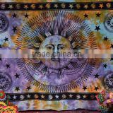 Sun Moon Stars Beach Throw/ Hippie Indian Wall Art/ Psychedelic Wall Decor / Celestial Wall Hanging