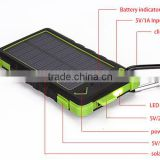 Waterproof solar charger 10000mAh dual USB portable solar panel power bank