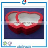 Christmas wedding candy packaging carton box CYMK printing red heart paper box with clear window                                                                                                         Supplier's Choice
