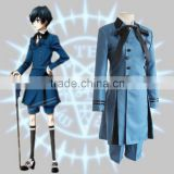 Hot! Kuroshitsuji Black Butler Ciel Phantomhive Cosplay Costume Double Breasted Blue Royal Noble Suit Halloween Costume for men