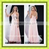 Beauty Gorgeous Empire Waist Pink Handmade Flower Hot Sale Cheap Christmas Party Dress Prom Gown PG-021