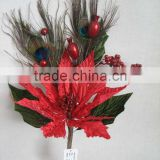 Christmas indoor decorations artificial velvet glitter poinsettia flowers christmas pick with peacock feather