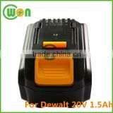 Replacement Battery for Dewalt cordless drill DCB180, DCB181, DCB200, DCB201, DCB201-2 20V 1.5Ah rechargable battery