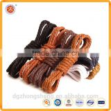2016 100% cotton high quality custom round thick shoelaces waxed shoelaces for leather shoes