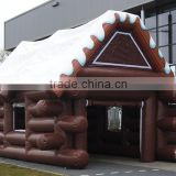 Wooden House style inflatable tent, inflatable log cabin tent for custom size