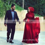 2016 High Neck Long Sleeve Lace Bridesmaid Dresses Maid of Honor Muslim Dark Red Prom Dress with hijab CWFp2315