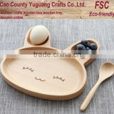 Kids dinner plate,beech wood food tray,rabbit shape tray