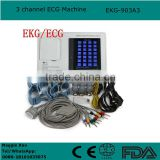 7 inch Portable resting 3 channel 12-lead Electrocardiograph ECG Machine EKG-903A3 with CE ISO approved