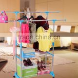 Stainless Steel Adjustable Telescoping Vertical and Horizontal Bars Double Rails Rolling Clothing Rack and Garment Rack