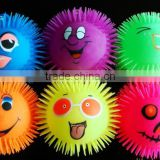 wholesale light up funny puffer emoji mulit colors ball / kids worm toy