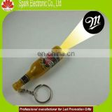plastic logo projector led torch mini beer keychain