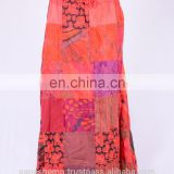 Beautiful Pumkin Orange Printed Patches Summer Long Dress HHCS 119 B
