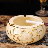 2018 ceramic golden unique design luxury round shape ashtray for smooking used