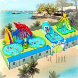 Giant Inflatable Water Park With Pool And Slide / outdoor inflatable park