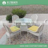 Wholesale cheap rattan wicker balcony furniture set with glass top table and 4 rattan chairs