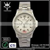 Top Quality stainless steel Automatic mechanical man watch luxury wristwatch business 5ATM waterproof silver color