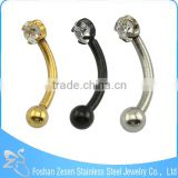 Gold Black Steel Body Piercing Eyebrow Piercing Diamond Eyebrow Ring