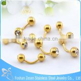 Hot Selling CZ Crystal Embedded Balls Gold Eyebrow Rings Piercing