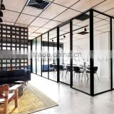 Modern Black Aluminum Frame Glass Partition Wall with Sliding Doors(SZ-WS634)