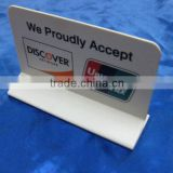 wholesale folding acrylic table sign display card Discover/China Bank UnionPay payment signage card advertising sign board